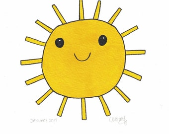 Sunshine Painting - Kids Wall Art - Acrylic Painting - You Are My Sunshine - Yellow Wall Art - Mixed Media Art - Sun Painting- Sun Face