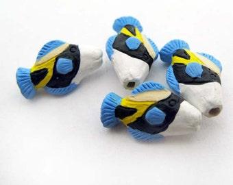 10 Tiny Hawaiian Trigger Fish Beads - CB908