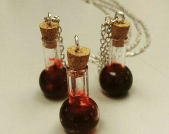 Blood vile necklaces, blood necklace, Halloween, Halloween jewelry, vampire blood necklace, vampire necklace, blood vile