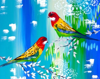"""Painting, wall art, canvas art, green, and, blue, 2 birds, art, paintings, canvas painting, on,canvas paintings, bird painting,29.5"""" x 23.5"""""""