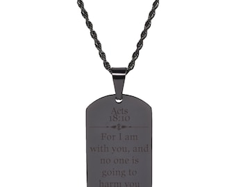 Acts 18:10 Tag Necklace - SSDOGTAG-ACTS18.10-GLD - Black
