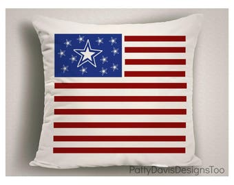 American Flag Outdoor Pillow, 4th of July Decorations, Decorative Throw Pillow for Outdoors, Independence Day Patio Pillow