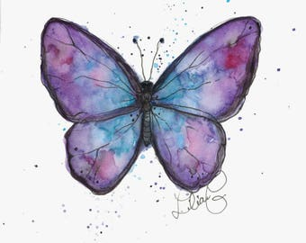 Lavender Butterfly (original watercolor)