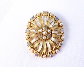 Elegant Vintage brushed silver tone and soft gold tone Oval Brooch and Pendant - Dual Purpose.  Faux seed pearls & AB rhinestone accents