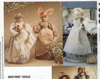 Free Us Ship Craft Sewing Pattern Uncut McCall's 7055 Sew Free Couture Poupees Dolls Betsy Victoria Bunny Rabbit Kittie Cat Uncut 1994