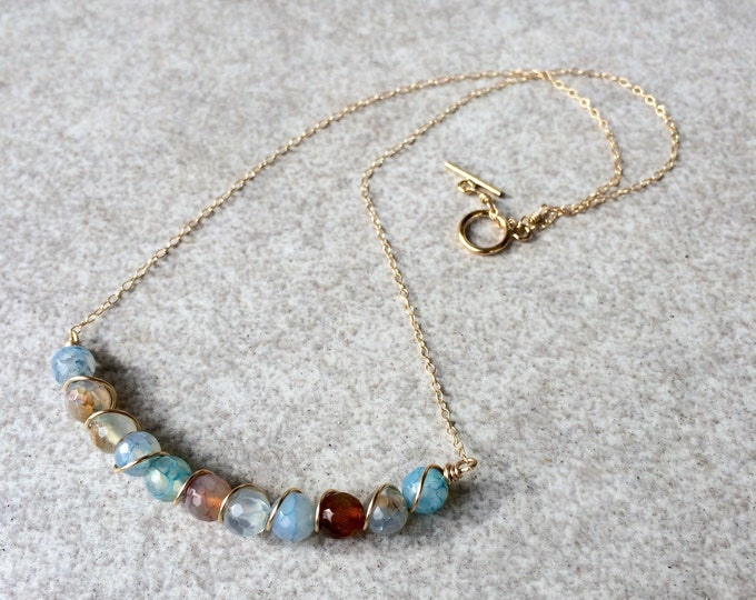 Wire Wrapped Blue Agate Necklace - Made to Order