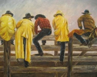 Cowboys Art Print, cowboy paintings, five cowboys on fence, rodeo men, ranch hands, western art, yellow rain slickers, Vickie Wade Art