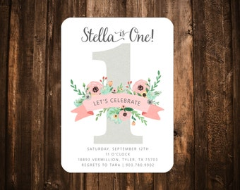 Pink & Mint Floral Birthday Invitation; One, First Birthday; Printable or set of 10