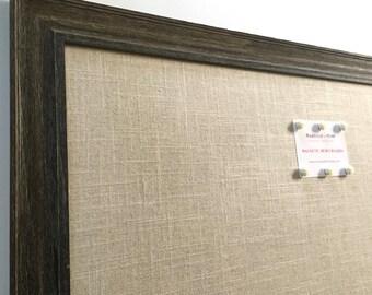 LARGE barn wood magnetic bulletin board, sophisticated rustic decor, office decor, framed magnet board, oatmeal-beige linen