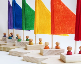 Rainbow Regatta - Choose Your Color - A Montessori and Waldorf Inspired Pretend Play and Sailing Toy