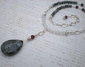 Sansa necklace, blue labradorite, white agate, garnet, sterling silver, renaissance, unique jewelry by Grey Girl Designs on Etsy