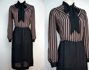 Secretary Dress Ascot Striped Black Button Medium Large Long Sleeve Shirt 1970s Brown