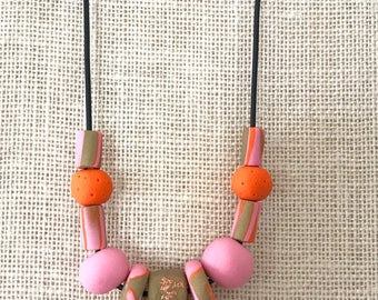 Pink and orange handmade polymer clay chunky necklace, 60cm rubber cord with breakaway clasp