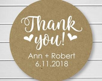 Wedding Thank You Stickers, Kraft Thank You Stickers, Printed Stickers, Wedding Favor Thank You Labels  (#265-KR-WT)