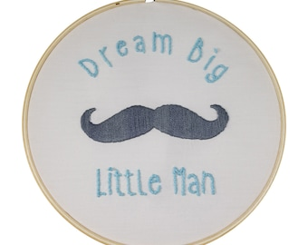Embroidery Kit - Gift Set, Skill level 2, Mustache Design