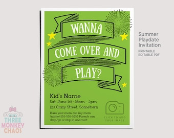 Summer Playdate Invite | PRINTABLE Personalized Photo Invitation | Play Date Card | Summer Party | Color AND Black & White | Editable PDF |