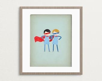 Super Duper Boys - Customizable 8x10 Archival Art Print