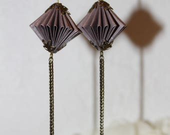 Origami paper earrings purple.