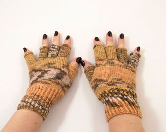 Hand Knitted Fingerless Gloves - Brown, Beige and Gray Size Medium