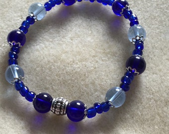 Blue Glass and Pewter Bracelet