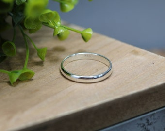 KAYDEN Ring - Simple Sterling Silver Ring, 3.5mm wide, Half-Round Band, Wedding Band, Anniversary Ring, Minimal Ring