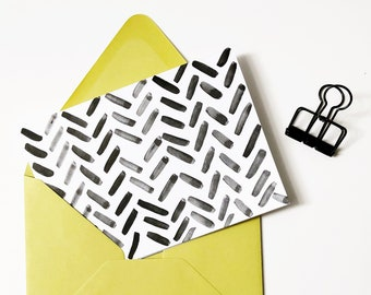 Black Dashes blank cards | Set of 4 hand-painted notecards