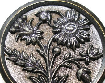 XL 1800s metal BUTTON, Victorian Flowers in silver purple. 1.5""
