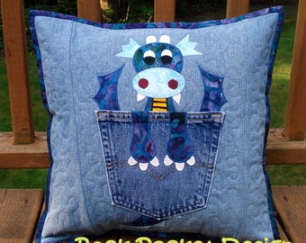 """Pattern for """"Friendly Dragon""""  Quilted Applique Pocket Pillow made with Upcycled Recycled Denim Jeans"""