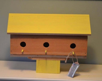 Rustic Cedar Birdhouse Condo 3 Compartments with Fence Post Mount Bright Yellow & Natural Stain Barn Farmhouse