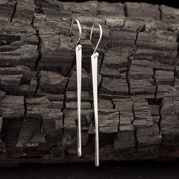 Long Sterling Silver Bar Earrings- Silver Stick Earrings- Long Bar Earrings- Silver Stick Dangle Earrings