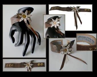 Bracelet designer flowers double leather brown leather