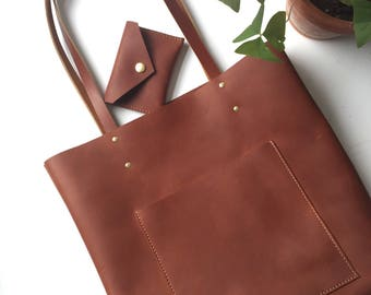 Brown Leather Tote // Sturdy Leather Bag // Oil Tanned Leather Bag