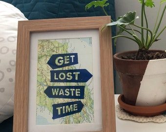 Framed Waste Time Print