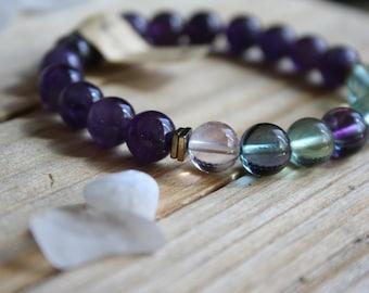 S/M  Deep Purple Amethys & Rainbow Flourite  Stretch Bracelet