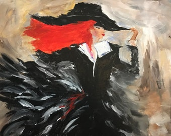 Handmade Acrylic Painting On Stretched Canvas, 16x20, Lady With Orange Hair, Modern, Wall Art, Home Decor, Gift Idea