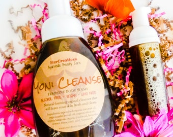 Organic Yoni Cleanse - Feminine Body Wash Infused w/ Roses, Lavender, Hemp Oil, Jojoba Oil & Coconut Oil 8.5 oz. Foam Pump *Shave Soap Vegan