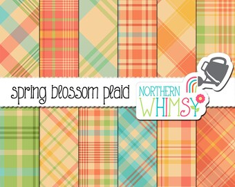 "Spring Digital Paper - ""Spring Blossom Plaid"" - pastel diagonal and seamless plaid patterns for commercial use"