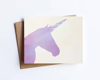 Purple Unicorn -  NOTECARD - FREE SHIPPING!