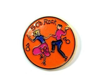 Vintage 50s Rock Plastic Pinback Button Badge
