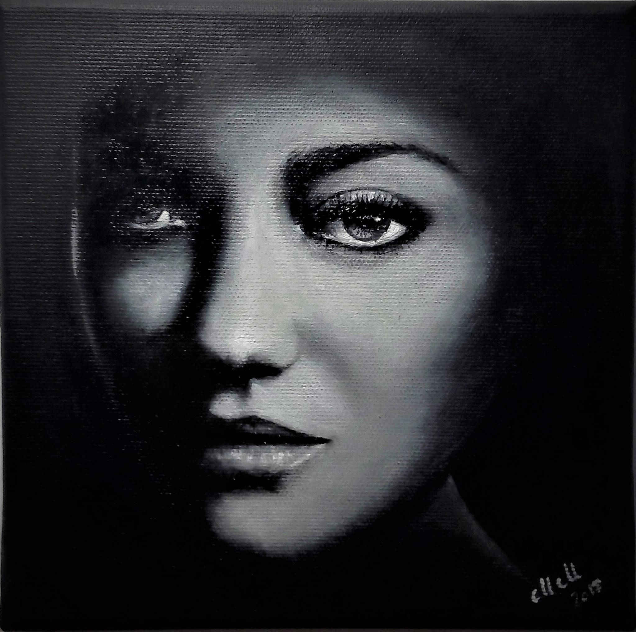 Portrait de clair-obscur huile peinture / Black et blanc art