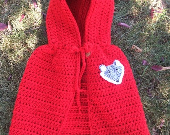 Little Red Riding Hood Crocheted Cape with Wolf Costume