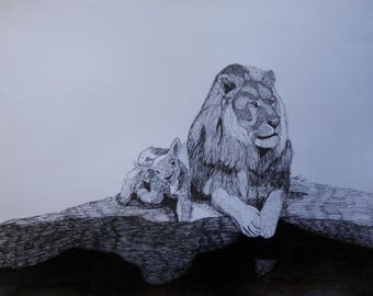 The Lion and the Lamb Original Ink Portrait