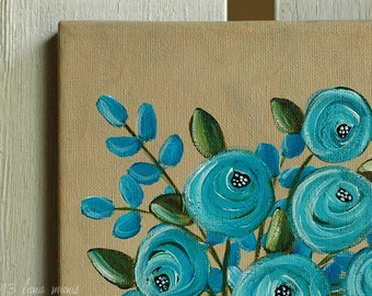 Original Still Life Acrylic Painting on Canvas - Old Blue Roses in White Ironstone Vase - Lana Manis