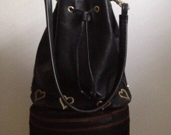 Studded black leather 80s bag hearts made in france Michel Orlean