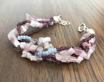 Wrap  bracelet, beaded, purple & pink