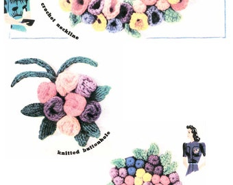 "Vintage Style Craft, January Posies"" Knitting and Crochet Pattern, (PDF) Pattern, January Posies"