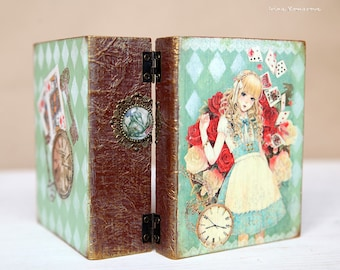 Alice in wonderland wooden book, trinket box, jewelry storage, keepsake, treasury box