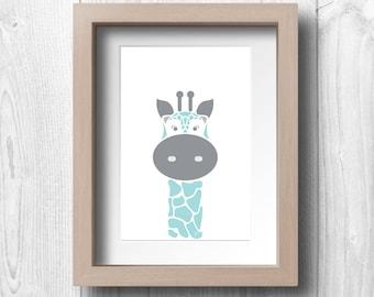 Blue Giraffe - Printable Wall Art
