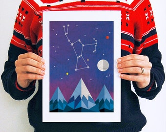 Orion Constellation, Constellation Print, Orion Art, Astronomy Print, Star Map Print, Night Sky Print, Astronomy Gifts, Celestial Art Print