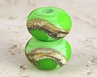 Handmade Glass Lampwork Bead Pair with Silvered Ivory Web Etched for a Frosted Finish Small 11x7mm Spring Green Velvet